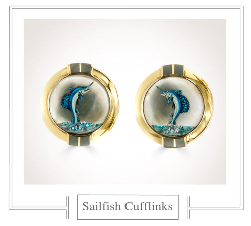 Raymond C. Yard, Crystal, 18K Gold, Sailfish Cufflinks