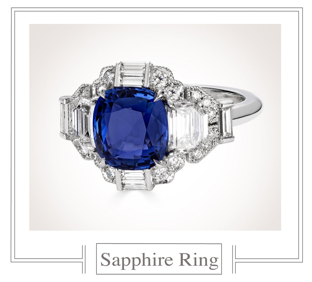 Raymond C. Yard, Sapphire and Diamond Ring