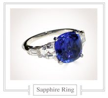 Load image into Gallery viewer, Raymond C. Yard, Sapphire and Diamond Paltinum Ring