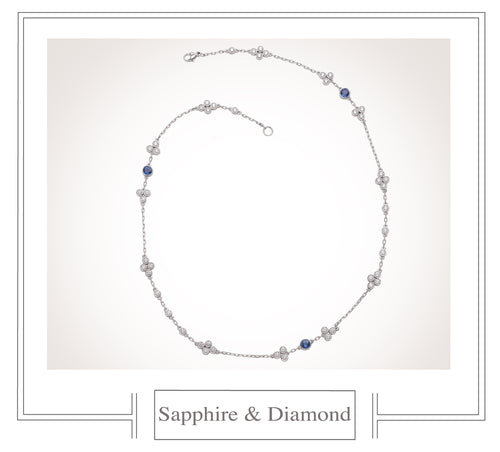Raymond C. Yard, Sapphire, Diamond, Platinum and White Gold Necklace