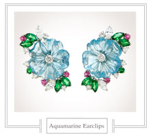Load image into Gallery viewer, Raymond C. Yard, Aquamarine, Diamond, Tsavorite, Pink Sapphire, Platinum Earclips