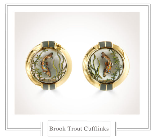 Raymond C. Yard, Crystal, 18K Gold, Brook Trout Cufflinks