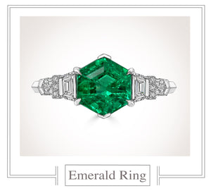 Raymond C. Yard, Emerald, Diamond, Platinum Ring