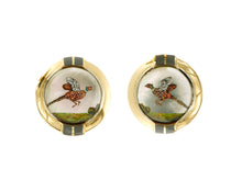 Load image into Gallery viewer, Raymond C Yard, Crystal, 18K Gold, Pheasant Cufflinks