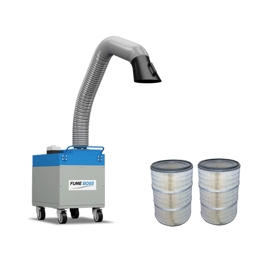 Fume Boss 800 Portable Fume Extractor + 2 Nanofiber Replacement Cartridge Filters
