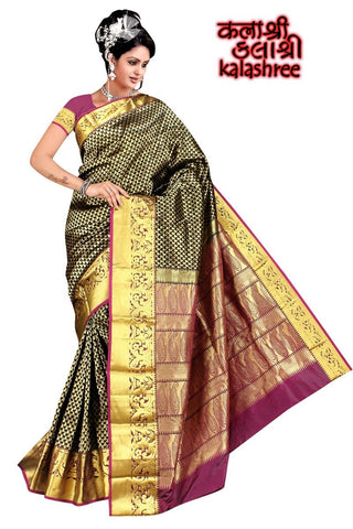 Black and Violet Kanchi with Full Zari