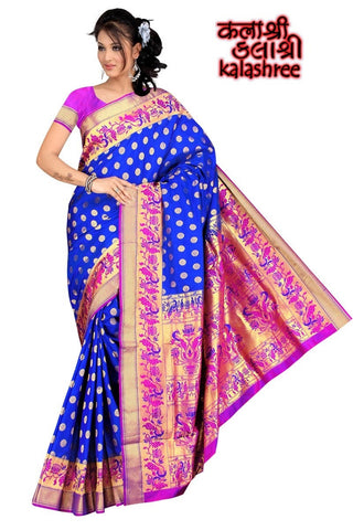 Amazing Royal Blue & Pink Paithani