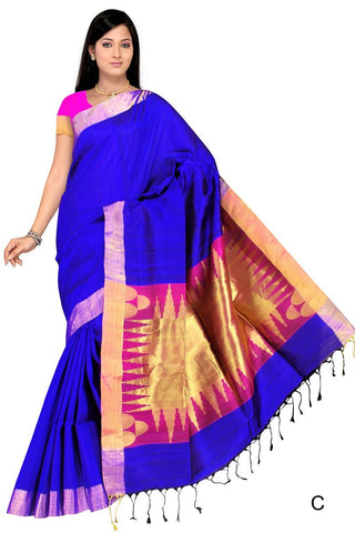 Royal Blue & Pink Bangalore Silk