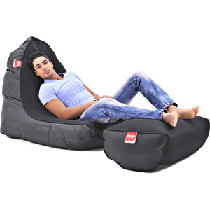 VIP Bean Bag Sofa + Ottoman Set (Gangsta Black)