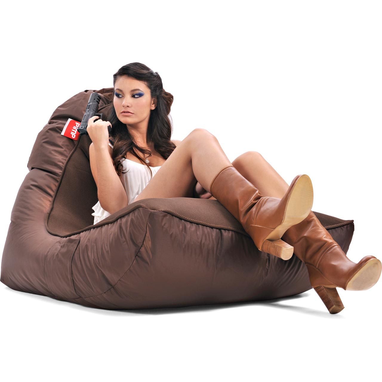 VIP Bean Bag Sofa + Ottoman Set (Choc-o-holic Brown)