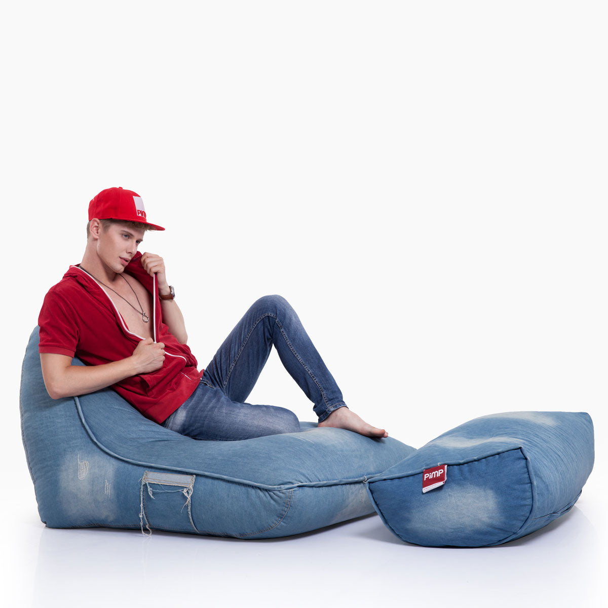 VIP Bean Bag Sofa + Ottoman Set (Denim Jeanious)