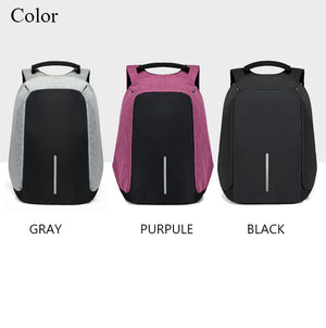 Original USB Charging Anti-Theft Backpack Black, Gray And Pruple