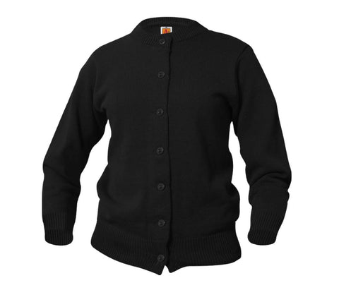 CARDIGAN - CREW NECK BUTTON DOWN SWEATER WITH OCA EMB CREST LOGO