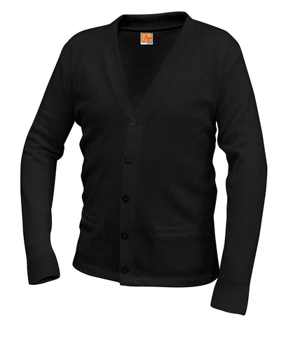 A+ 6300 CARDIGAN SWEATER  WITH V-NECK AND 2 FRONT POCKETS - CREST EMB LOGO