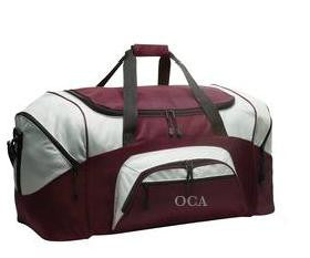 Bag - Duffle Bag Large Maroon/Grey with Eagle Logo on top Flap