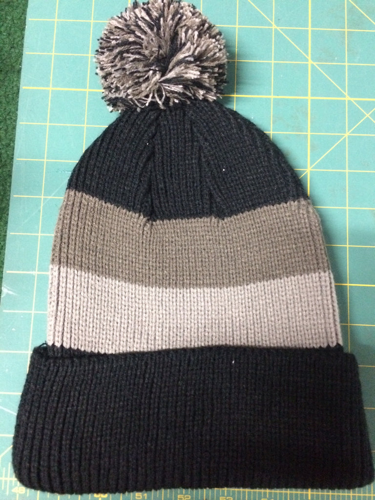 Beanie Cap with Ball Black, Silver & Grey in color,  w/OCA Athletic Logo