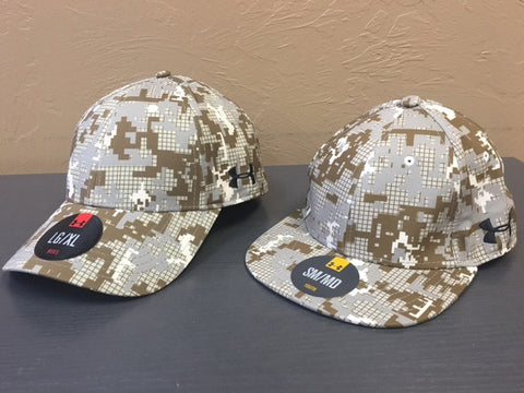 Cap - Under Armour Camo Team Blitzing Cap Adult Sizes with Athletic Eagle Logo Left Panel