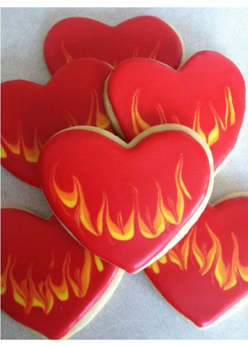 Valentine's Day Cookies Flaming Heart