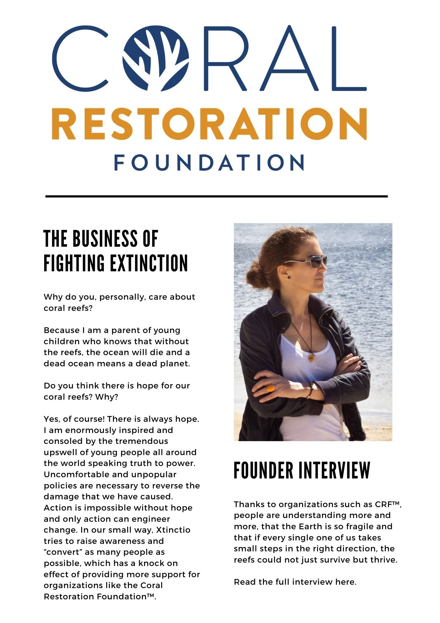 Xtinctio founder interviewed by Coral Restoration Foundation