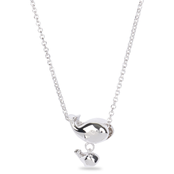Xtinctio - Necklace Created in honor of an Orca known as J35 in the Pacific Northwest, who mourned the loss of her offspring by carrying her dead calf for 17 days.  Our whale & Calf Pendant in recycled sterling silver