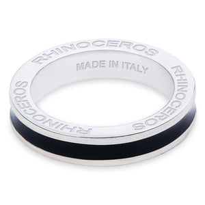 "Xtinctio - Hand made in Italy by a 3rd generation Goldsmith, this eco conscious white Bronze and Black enamel ring is engraved with the word ""Rhinoceros"".  Imbued with the spirit of the endangered Rhinoceros"