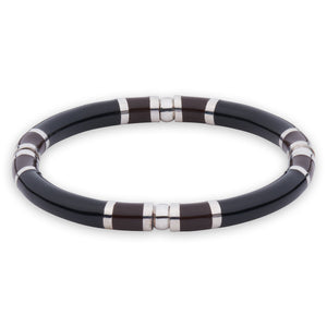 Xtinctio - Stretch Bangle comfortable, timeless and chic Hand made in Italy by a 3rd generation Goldsmith  Triple dipped Palladium and  black enamel Imbued with the spirit of the endangered Rhinoceros