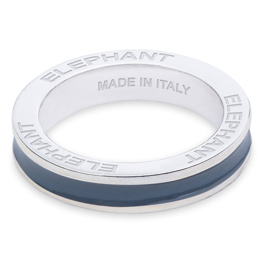 "Xtinctio- - Hand made in Italy by a 3rd generation Goldsmith, this eco conscious white Bronze and grey enamel ring is engraved with the word ""Elephant""."