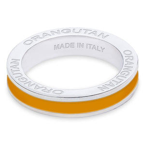Xtinctio - Hand made in Italy by a 3rd generation Goldsmith.  Eco conscious white Bronze and orange enamel.  This Ring is imbued with the spirit of the Endangered Orangutan