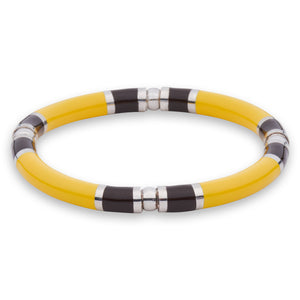 Xtinctio - Stretch Bangle comfortable, timeless and chic Hand made in Italy by a 3rd generation Goldsmith  Triple dipped Palladium and Yellow enamelImbued with the spirit of the Jungle and the Tiger