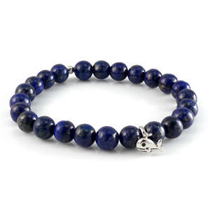 Lapis Beaded Bracelet with Whale Charm