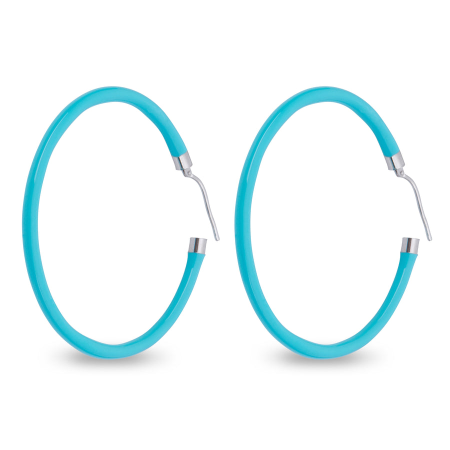 Xtinctio - These circular bronze enameled hoop earrings are hand made in Italy by a 3rd generation goldsmith using the ancient Etruscan art of enameling.  designed in color turquoise  in honor of the grand oceans.