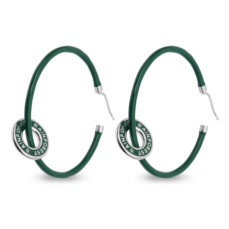 "Xtinctio - These eco conscious green Hoop Earrings and attached circle pendant engraved with the word ""Rainforest"" are hand made"