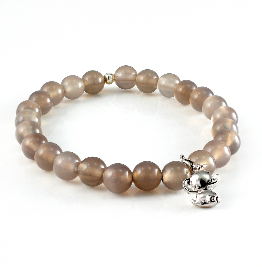 Grey Agate Beaded Bracelet with Elephant Charm