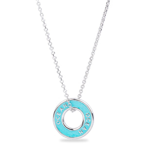 "Xtinctio - Necklace This Etruscan pendant is hand made in Italy by a third generation goldsmith and engraved with the word ""Ocean"" turquoise enamel.  The pendant hangs on a 925 sterling silver necklace and represents your commitment to protecting the Ocean."
