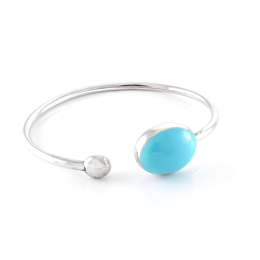 Xtinctio - Bangle Hand made in Italy by a 3rd generation Goldsmith. 925 sterling silver Triple dipped Palladium and turquoise enamel. Imbued with the spirit of the Ocean
