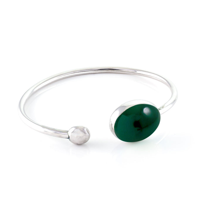 Rainforest Oval Enameled Silver Bangle