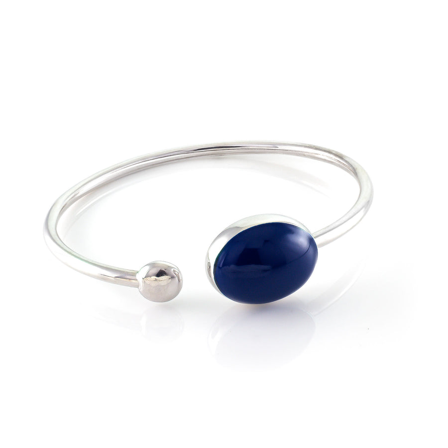 Whale Oval Enameled Silver Bangle