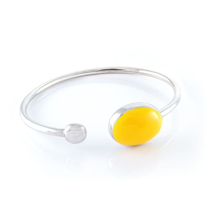 Tiger Oval Enameled Silver Bangle