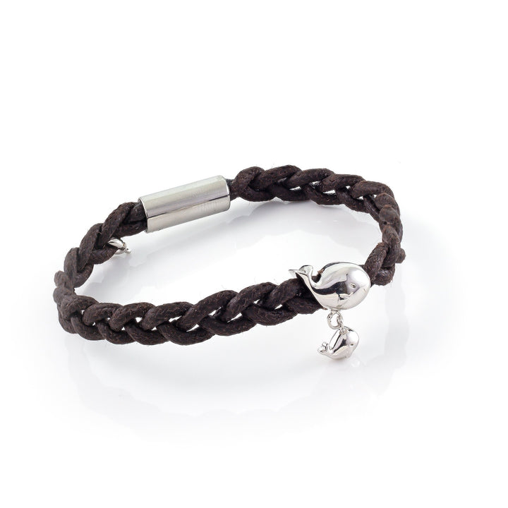 Whale and Calf Waxed Cord  Bracelet