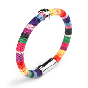 Highly Durable, Comfortable, Fun and well made Eco conscious linen cotton HOPE bracelet is lovingly hand made.  Each color represents an endangered species we are partnering to protect. creating a rainbow of enduring hope.  50% of all profits are donated to organizations that protect endangered species and their habitats.