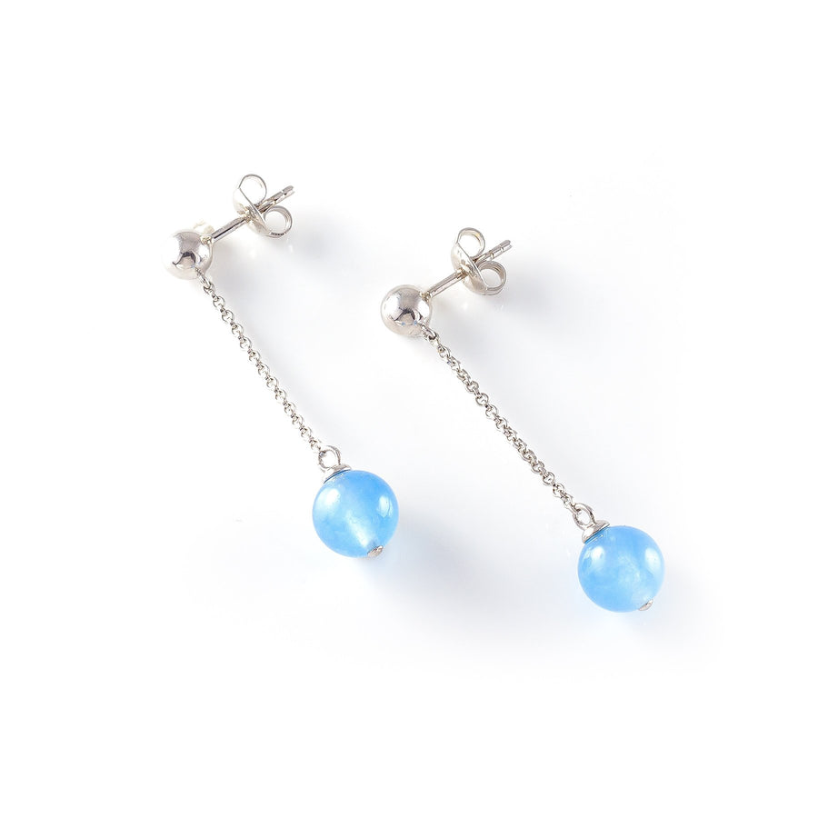 Sterling silver Ball Hook pendant Earring with  blue Chalcedony representing your commitment to protecting these critically endangered species and their habitats.