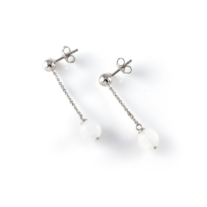 Sterling silver Ball Hook pendant Earring with  white moonstone representing your commitment to protecting these critically endangered species and their habitats.