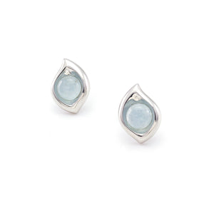 Leaf Earrings 925 Silver and Chalcedony