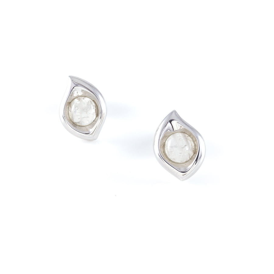 Xtinctio - Earirings -Sterling silver Leaf Earrings and Moonstone representing your commitment to protecting these critically endangered environment  and their habitats.   Xtinctio - For The Survival Of The Species
