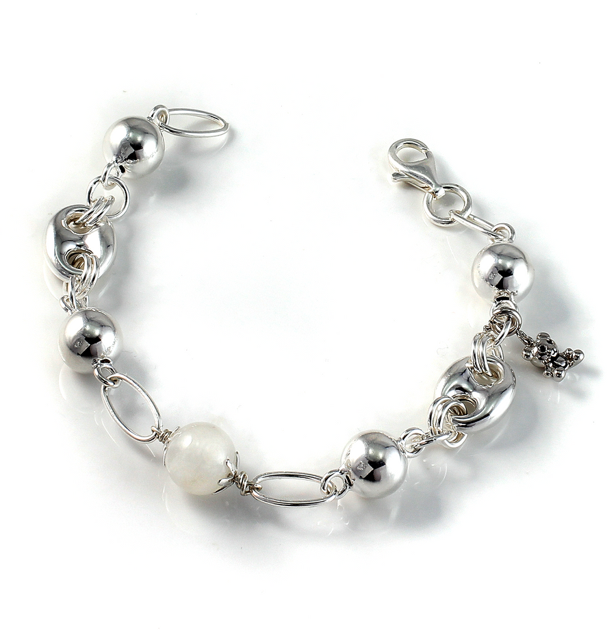 Silver Charm Bracelet with 12mm Moonstone Gemstone