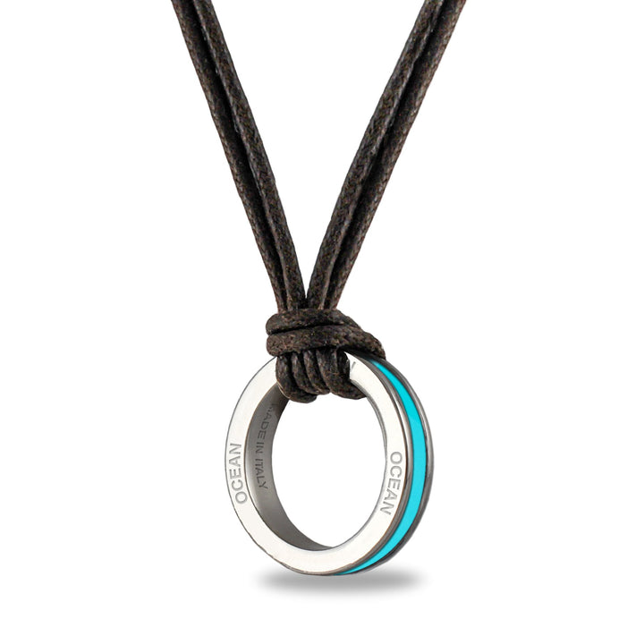 Xtinctio  - Necklace Amulet individually hand forged in Italy from White Bronze and turquoise Etruscan enamel in honor of the Ocean and all of it's glorious biodiversity.