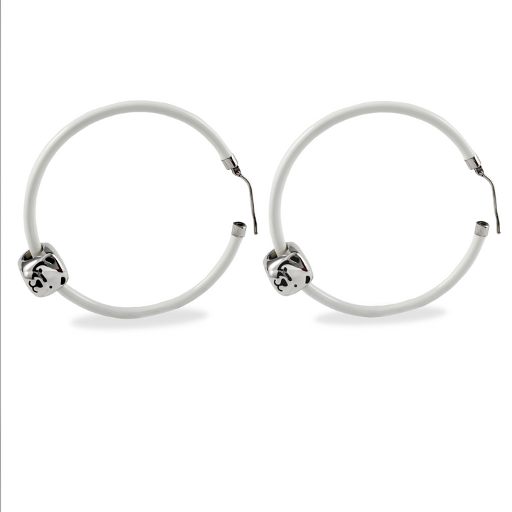 Polar Bear Pendant Hoop Earrings