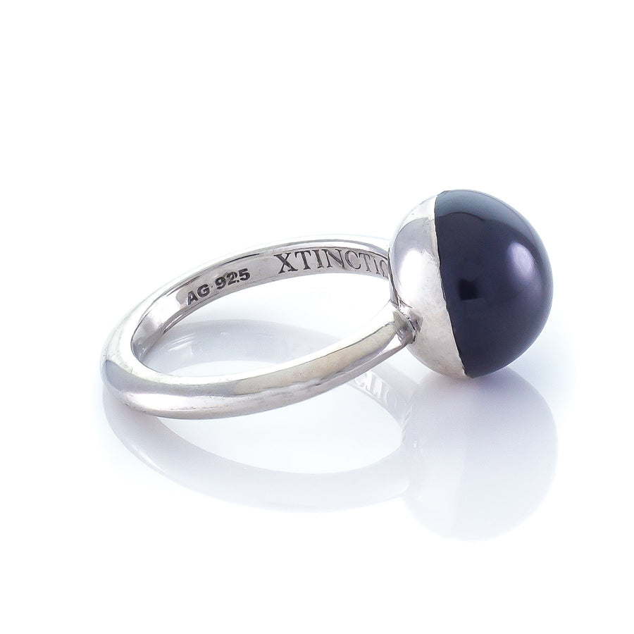 Xtinctio - This Etruscan Sphere Ring is hand made in Italy by a 3rd generation goldsmith using 925 Silver and enamel.  Engraved with our logo, it is a positive reminder of our connection to every living thing in this age of extinction. Our partner in Elephant