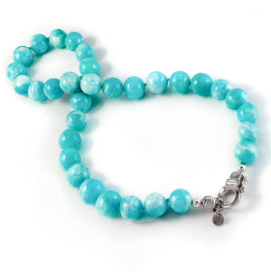 Xtinctio - This Amazonite Beaded Necklace is Eco conscious, chic, beautiful and timeless.  Lovingly hand made and represents our commitment to protect the Ocean. 50% of all profits go to support the protection of endangered species and their environments