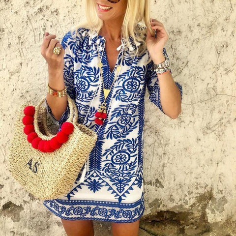 Koselip Bohemian Vintage Printed Summer Loose Shift Beach Mini Dress